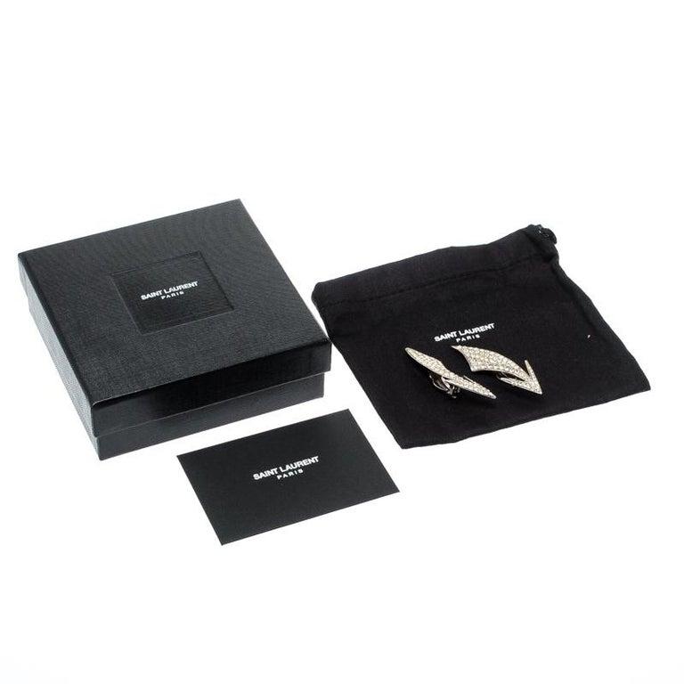 Saint Laurent Paris Crystal Embedded Arrow Silver Tone Clip-on Earrings For Sale 1