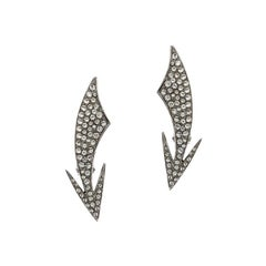 Saint Laurent Paris Crystal Embedded Arrow Silver Tone Clip-on Earrings