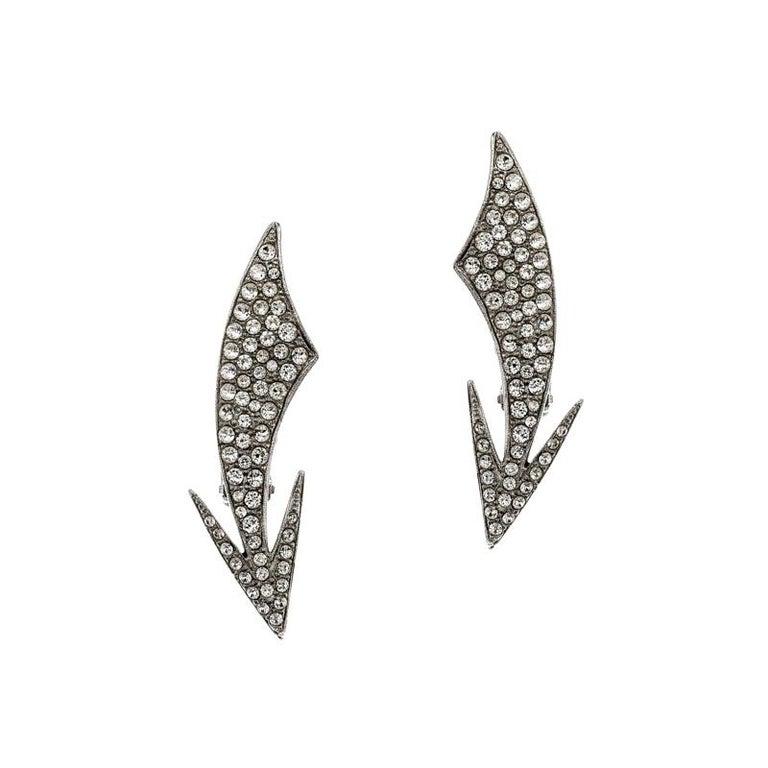 Saint Laurent Paris Crystal Embedded Arrow Silver Tone Clip-on Earrings For Sale