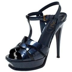 Saint Laurent Paris Dark Blue  Tribute Platform Ankle Strap Sandals Size 38