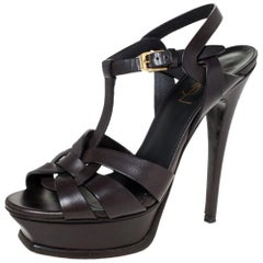Saint Laurent Paris Dark Brown Leather Tribute Ankle Strap Sandals Size 36.5