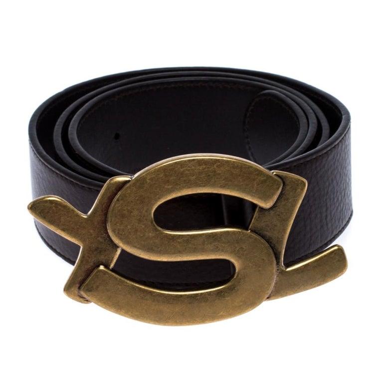 Saint Laurent Paris Dark Brown Leather YSL Logo Buckle Belt 100CM In Good Condition For Sale In Dubai, Al Qouz 2