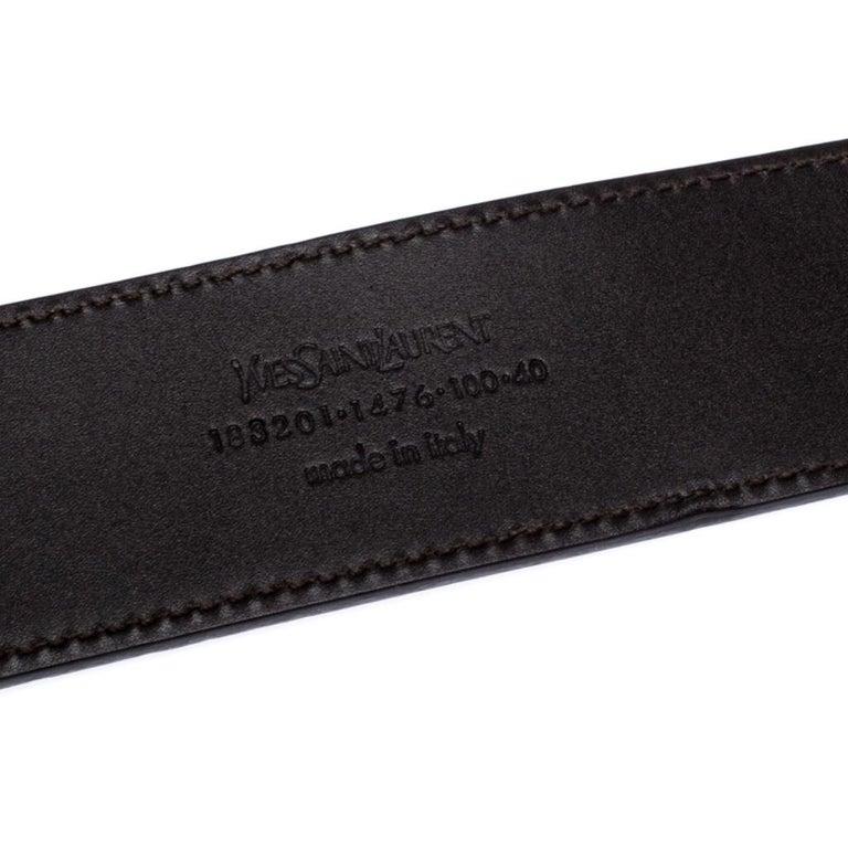 Saint Laurent Paris Dark Brown Leather YSL Logo Buckle Belt 100CM For Sale 1