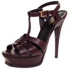 Saint Laurent Paris Dark Burgundy Leather Tribute Platform Sandals Size 37.5