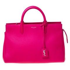Saint Laurent Paris Fuschia Pink Leather Small Cabas Rive Gauche Tote