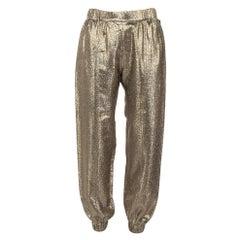 Saint Laurent Paris Gold Lurex Silk Joggers M