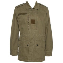 Saint Laurent Paris Green Cotton & Linen Military Jacket M
