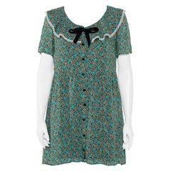 Saint Laurent Paris Green Floral Printed Twill Button Front Mini Dress M