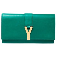Saint Laurent Paris Green Leather Large Chyc Clutch