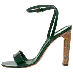 Saint Laurent Paris Green Patent Leather Multicolor \ Ankle Strap Sandal Size 40
