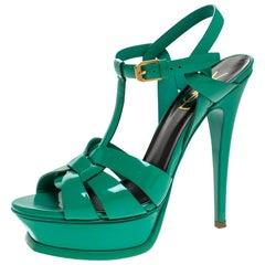Saint Laurent Paris Green Patent Leather Tribute Platform Sandals Size 37