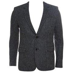 Saint Laurent Paris Grey and Black Wool Two Button Blazer M