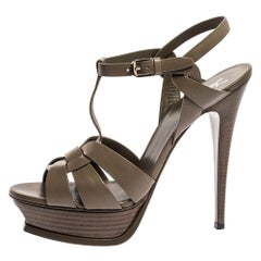 Saint Laurent Paris Grey Leather Tribute Platform Sandals Size 41