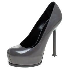 Saint Laurent Paris Grey Patent Leather Tribtoo Platform Pumps Size 37