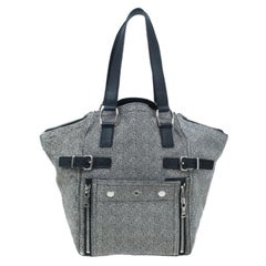 Saint Laurent Paris Grey Pony Hair Downtown Luggage Tote