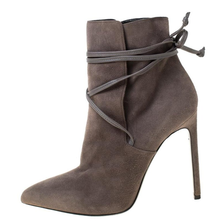 Women's Saint Laurent Paris Grey Suede Pointed Toe Wrap Ankle Boots Size 39 For Sale