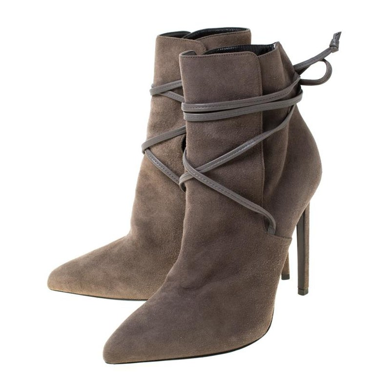 Saint Laurent Paris Grey Suede Pointed Toe Wrap Ankle Boots Size 39 For Sale 2