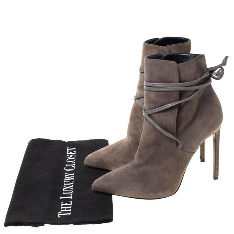 Saint Laurent Paris Grey Suede Pointed Toe Wrap Ankle Boots Size 39 For Sale 3