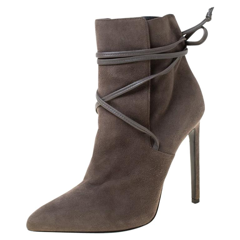 Saint Laurent Paris Grey Suede Pointed Toe Wrap Ankle Boots Size 39 For Sale