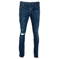Saint Laurent Paris Indigo Faded Effect Denim Distressed Skinny Jeans S