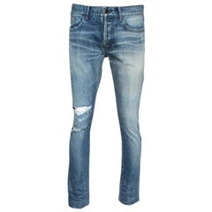 Saint Laurent Paris Indigo Washed Denim Distressed Slim Fit Jeans S