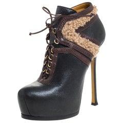 Saint Laurent Paris Leather&Shearling Trim Tribtoo Platform Ankle Boot Size 39.5