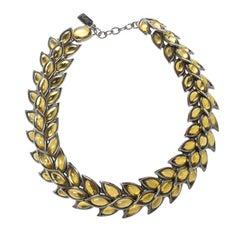 Saint Laurent Paris Leaves Motif Yellow Gripoix Choker Necklace