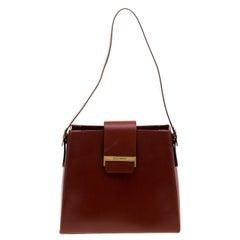 Saint Laurent Paris Maroon Leather Shoulder Bag