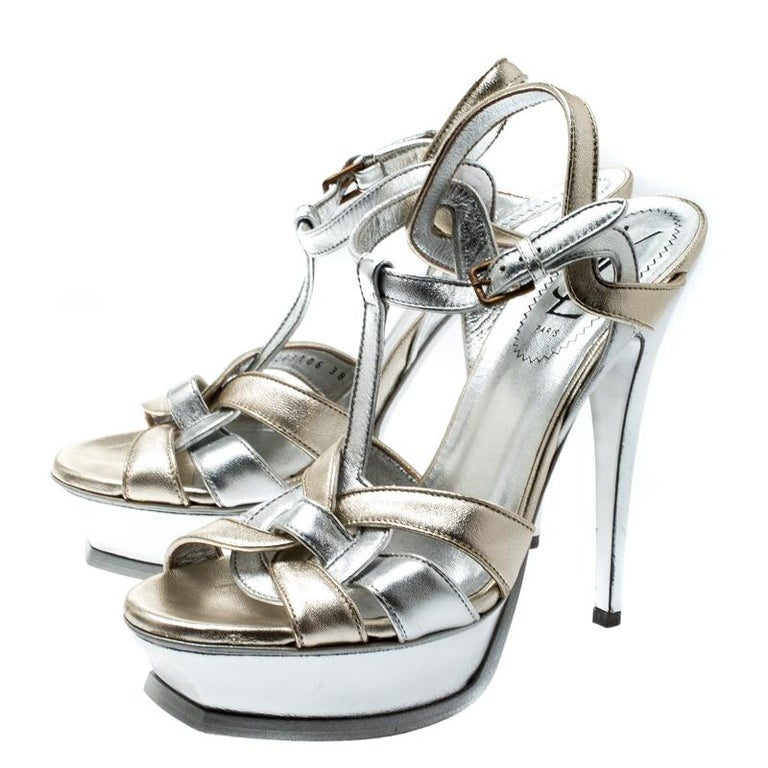 Gray Saint Laurent Paris Metalic Silver/Gold Leather Tribute Platform Sandals Size 38 For Sale