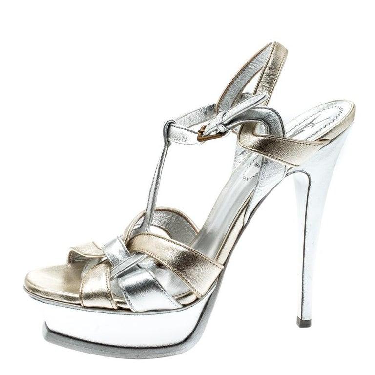 Saint Laurent Paris Metalic Silver/Gold Leather Tribute Platform Sandals Size 38 In Good Condition For Sale In Dubai, Al Qouz 2