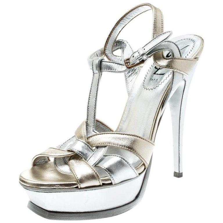 Saint Laurent Paris Metalic Silver/Gold Leather Tribute Platform Sandals Size 38 For Sale