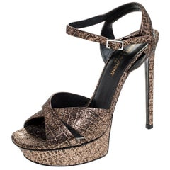 Saint Laurent Paris Metallic Bronze Leather Platform Sandals Size 38.5