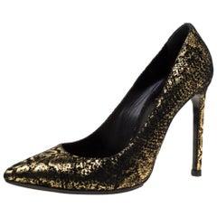 Saint Laurent Paris Metallic Gold And Black Suede Pointed Toe Pumps Size 38