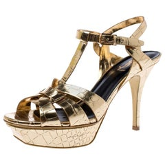 Saint Laurent Paris Metallic Gold Croc Embossed Leather Tribute Sandals Size 39