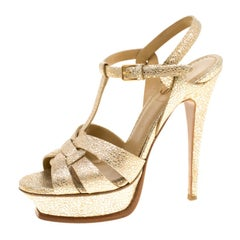 Saint Laurent Paris Metallic Gold Embossed Leather Tribute Platform Sandals Size