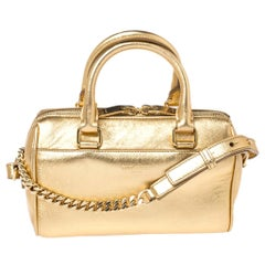 Saint Laurent Paris Metallic Gold Leather Classic Duffel Bag
