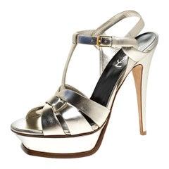 Saint Laurent Paris Metallic Pale Gold Leather Tribute Platform Strap Sandals 40