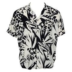 Saint Laurent Paris Monochrome Jungle Printed Twill Bowling Shirt L