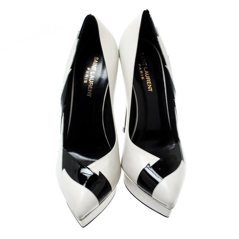 Black Saint Laurent Paris Monochrome LeatherSplash Pointed Toe Platform Pumps Size 39 For Sale