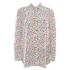 Saint Laurent Paris Multicolor Star Printed Silk Long Sleeve  Front Shirt XL