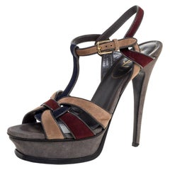 Saint Laurent Paris Multicolor Suede Tribute Platform Sandals Size 38