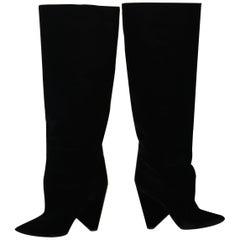 Saint Laurent Paris Niki Black Velvet Boots size 39
