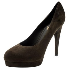 Saint Laurent Paris Olive Green Suede Platform Pumps 38