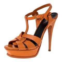 Saint Laurent Paris Orange Leather Tribute Platform Sandals Size 40