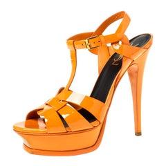 Saint Laurent Paris Orange Patent Leather Tribute Platform Sandals Size 38.5