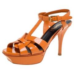 Saint Laurent Paris Orange Patent Leather Tribute Sandals Size 35