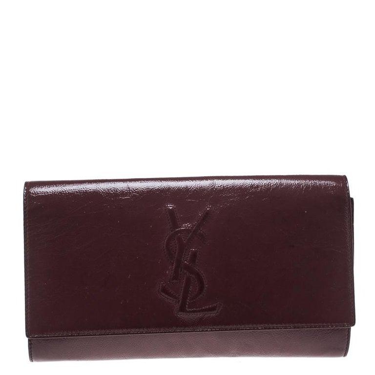 Saint Laurent Paris Pale Red Patent Leather Belle De Jour Flap Clutch For  Sale 93f58eee0b