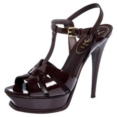 Saint Laurent Paris Patent Leather Tribute Ankle Strap Platform Sandals Size 38