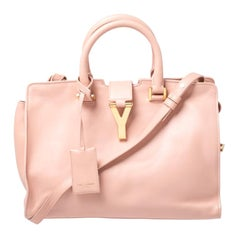Saint Laurent Paris Pink Leather Small Cabas Ligne Y Tote
