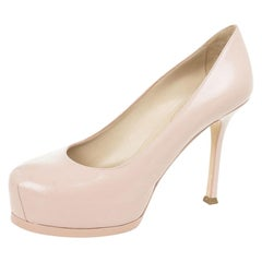 Saint Laurent Paris Pink Leather Tribtoo Platform Pumps Size 38